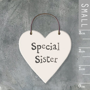 East of India - Small Wooden Heart-shaped Tag - 'Special Sister'