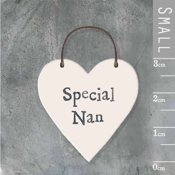 East of India - Small Wooden Heart-shaped Tag - 'Special Nan'