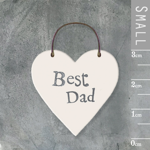 East of India - Small Wooden Heart-shaped Tag - 'Best Dad'