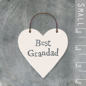 East of India - Small Wooden Heart-shaped Tag - 'Best Grandad'