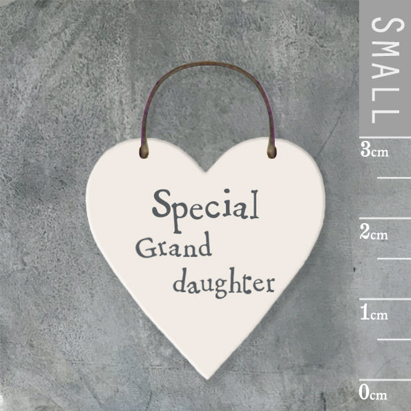 East of India - Small Wooden Heart-shaped Tag - 'Special Granddaughter'