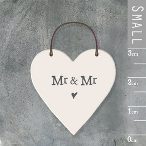 East of India - Small Wooden Heart-shaped Tag - 'Mr and Mr'