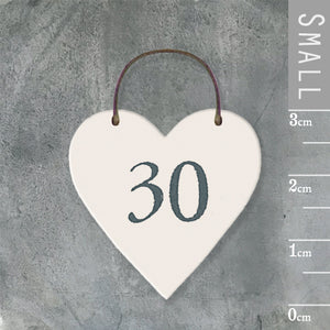 East of India - Small Wooden Heart-shaped Tag - '30'