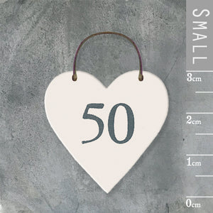 East of India - Small Wooden Heart-shaped Tag - '50'