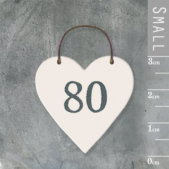 East of India - Small Wooden Heart-shaped Tag - '80'