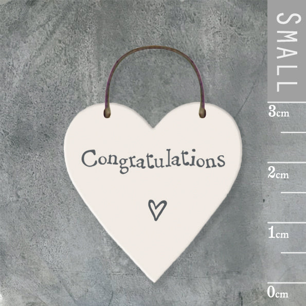 East of India - Small Wooden Heart-shaped Tag - 'Congratulations'
