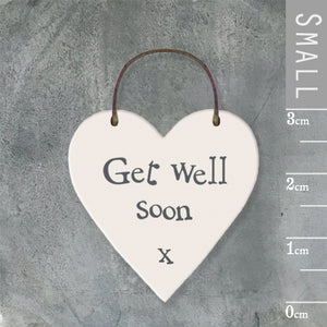 East of India - Small Wooden Heart-shaped Tag - 'Get well soon'
