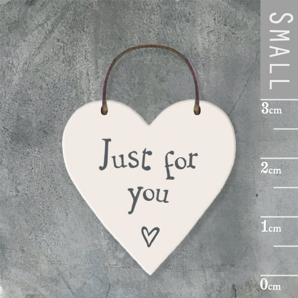 East of India - Small Wooden Heart-shaped Tag - 'Just for you'