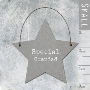 East of India - Small Wooden Star-shaped Tag - 'Special Grandad'