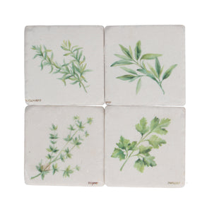 White Stone Coasters w/ Assorted Herb Leaves - Set of 4