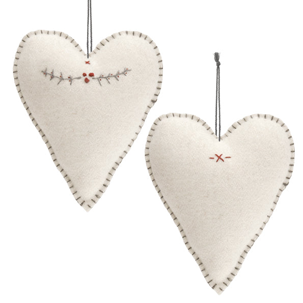 East of India - Embroidered Felt Cream Heart Tree Decoration - Large