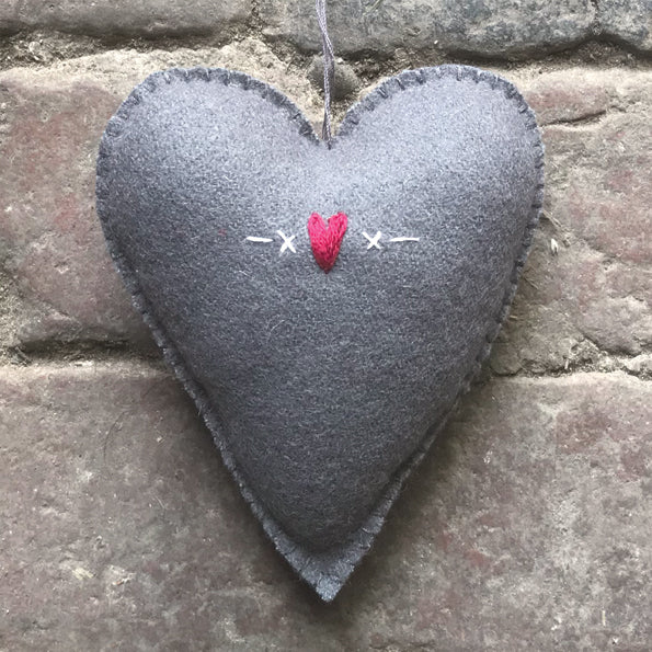 East of India - Embroidered Felt Grey Heart Tree Decoration - Large