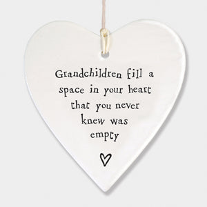 East of India - Porcelain Hanging Heart - 'Grandchildren'