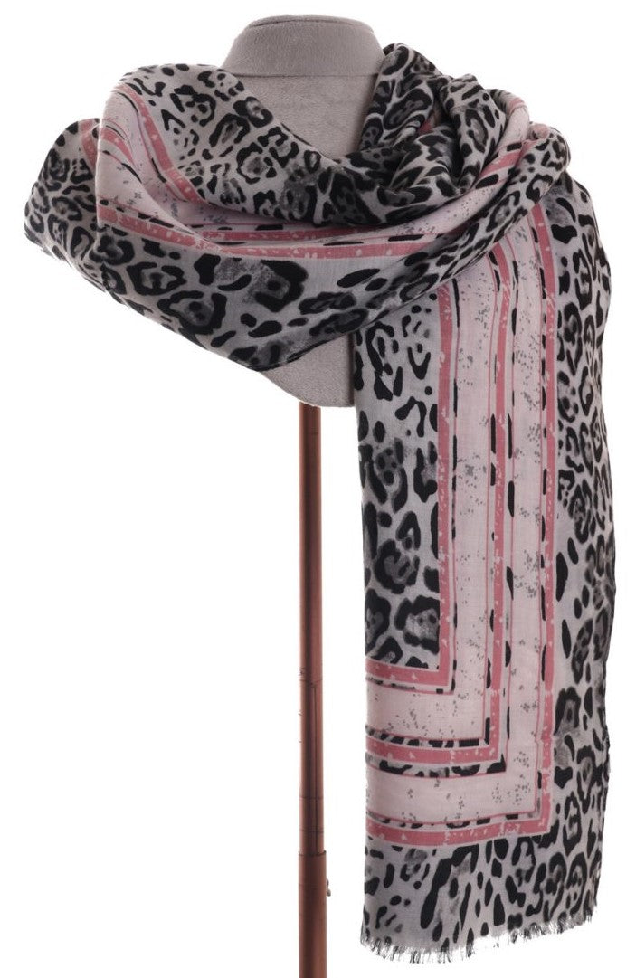 Chic Black & Grey Animal Print with Pink Stripe