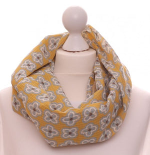 Mustard & Grey Cotton Cross Loop Scarf