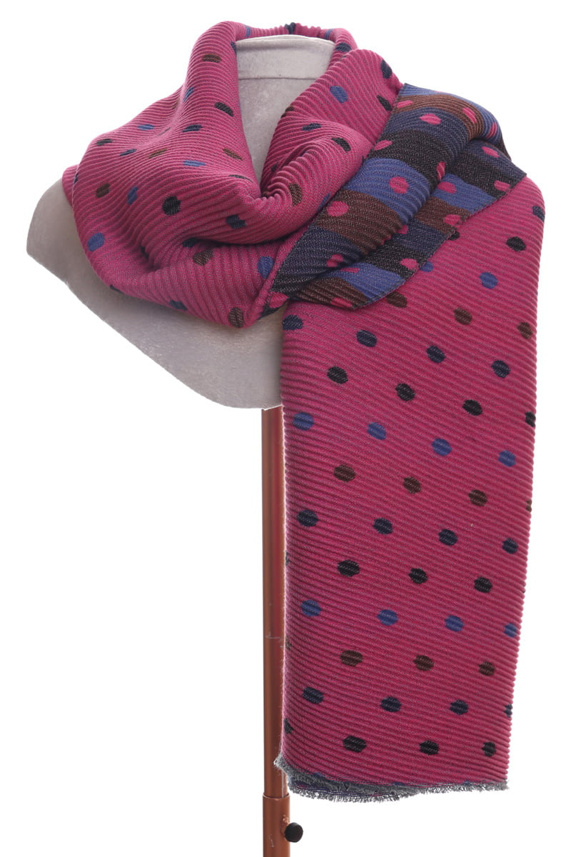 Soft, Pleated Reversable Scarf - Bright Pink with Polka Dots