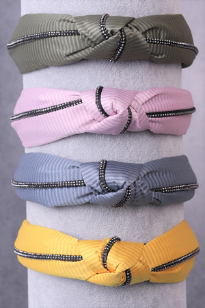 Soft Solid Colour Knotted Headbands with Black Trim Piping