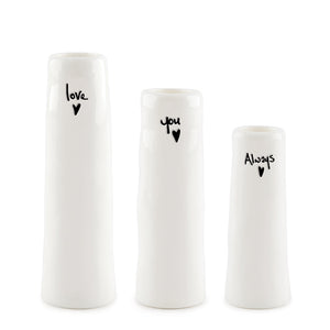 "*NEW* East of India - Trio of Bud Vases - ""Love You Always"""