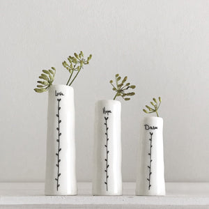 "*NEW* East of India - Trio of Bud Vases - ""Love Hope Dream"""