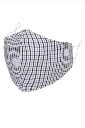White w/ Black and Light Grey Check Print Adult Face Mask