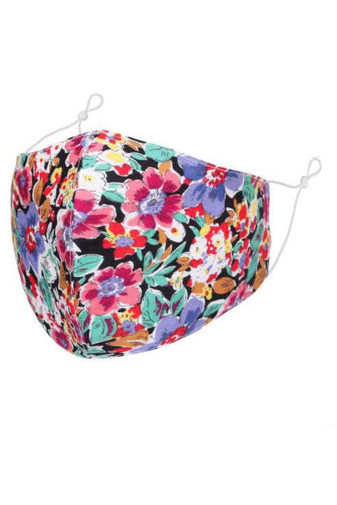 Black with Bright Multi-Coloured Floral Print Adult Face Mask with Filter Pocket