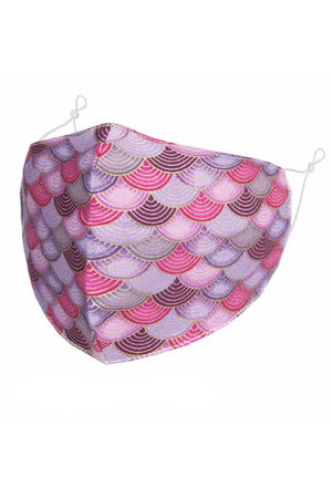 Pink and Lilac Scallop Design Adult Face Mask with Filter Pocket