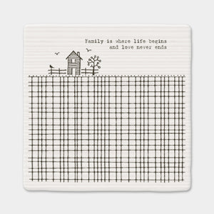 East of India - Porcelain Square Coaster - 'Family is Where Life Begins'
