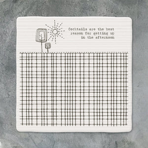 East of India - Porcelain Square Coaster - 'Cocktails'