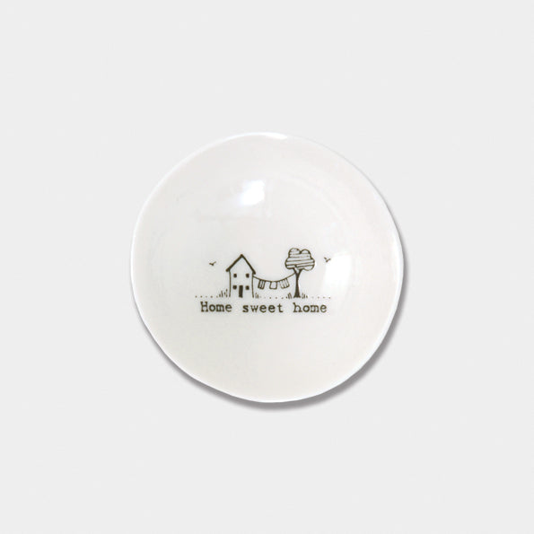East of India - Small Porcelain Wobbly Bowl - 'Home Sweet Home'