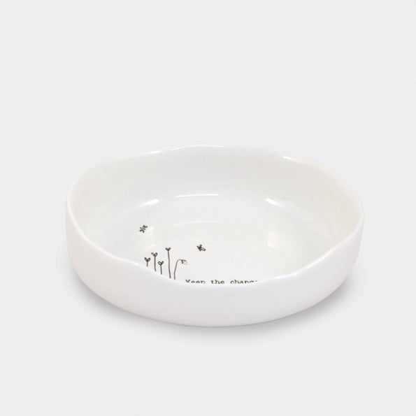 East of India - Wobbly Edged Trinket Dish - 'Keep the Change'