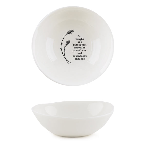 *NEW* East of India - Medium Porcelain Wobbly Bowl - 'Our Laughs'