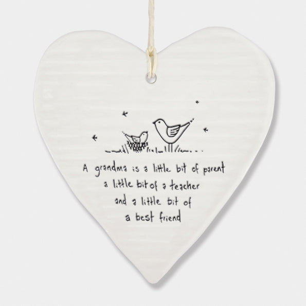 *NEW* East of India - Porcelain Wobbly Hanging Heart - 'Grandma'