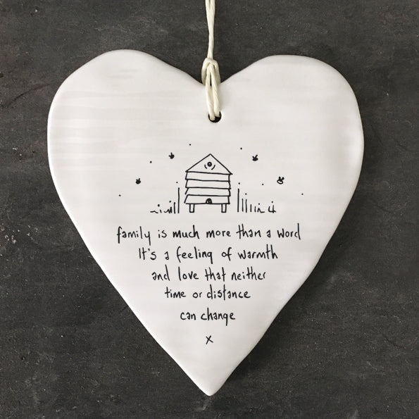 *NEW* East of India - Porcelain Wobbly Hanging Heart - 'Family'