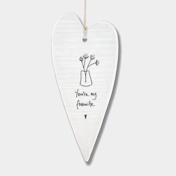 East of India - Porcelain Wobbly Long Hanging Heart - 'You Are My Favourite'