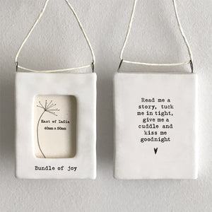*NEW* East of India - Mini Porcelain Hanging Photo Frame - 'Bundle of Joy'