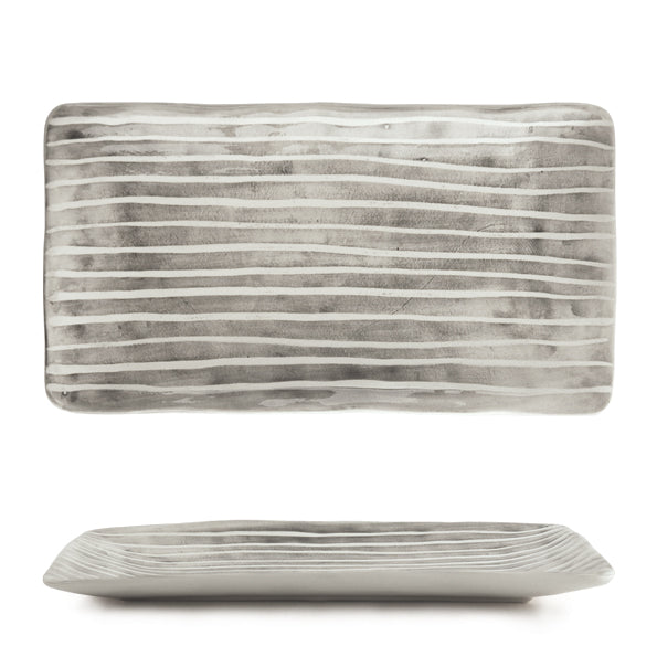 East of India - Hand Painted Long Oblong Dish - Painted Stripe