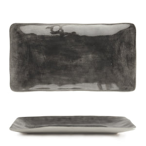 East of India - Hand Painted Long Oblong Dish - Black Wash