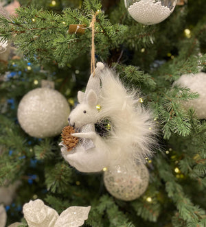 Felt Squirrel with Pinecone Tree Decoration - 13 cm