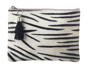 Genuine Leather Zebra Print Cosmetics Bag