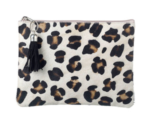 Genuine Leather Leopard Print Cosmetics Bag