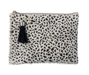 Genuine Leather Cheetah Print Cosmetics Bag