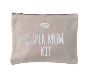 """Super Mum Kit"" Suede Cosmetics Bag"