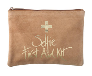 """Selfie First Aid Kit"" Suede Cosmetics Bag"