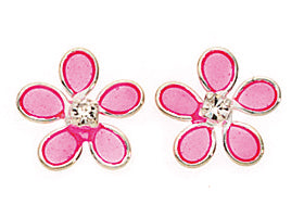 Sterling Silver - Pink Flower Studs