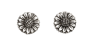 Oxidised Sterling Silver Daisy Studs