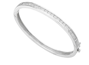 Sterling Silver Clear CZ Square Channel Set Bangle