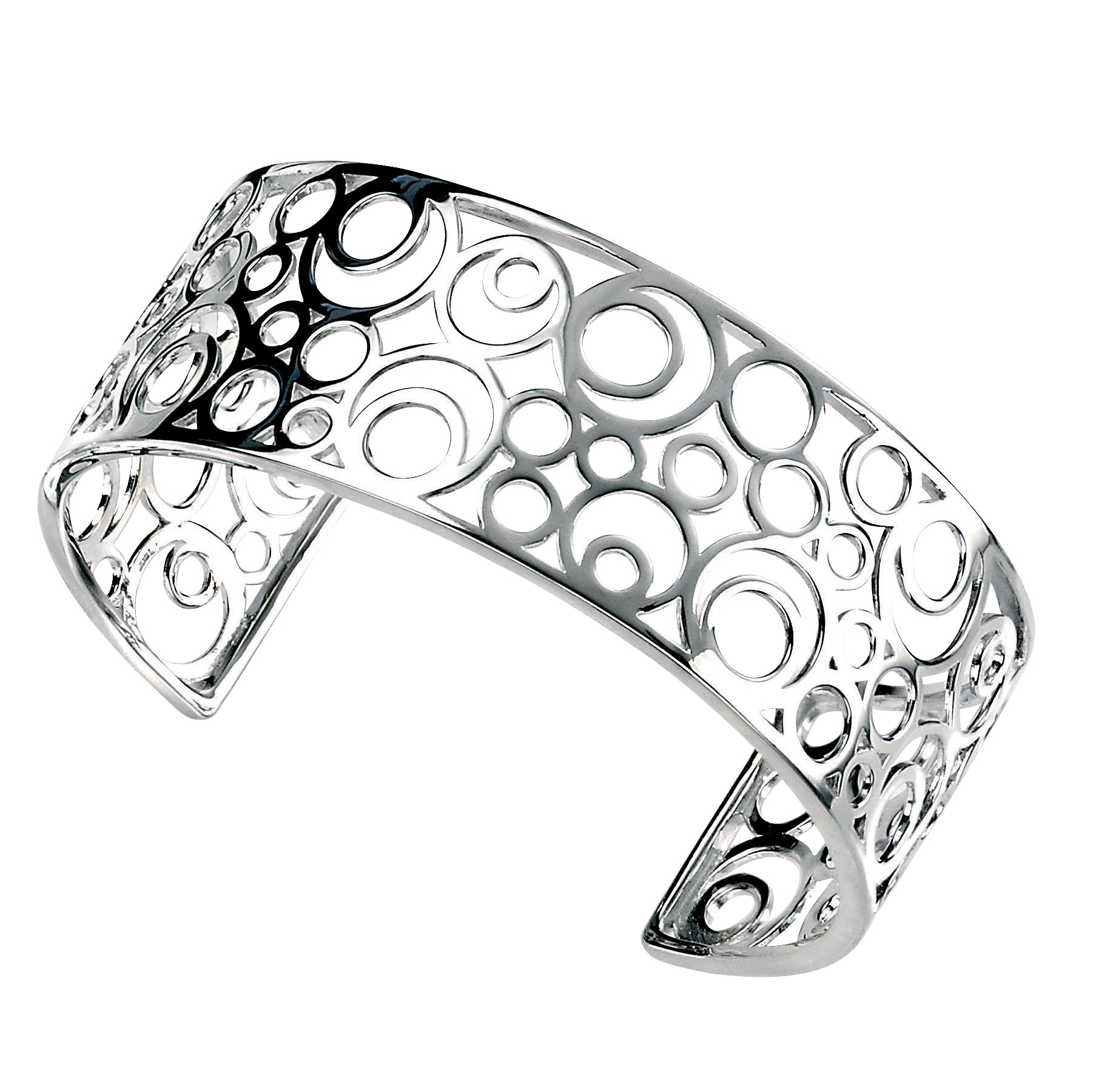 Sterling Silver Open Circles Cluster Cuff Bangle