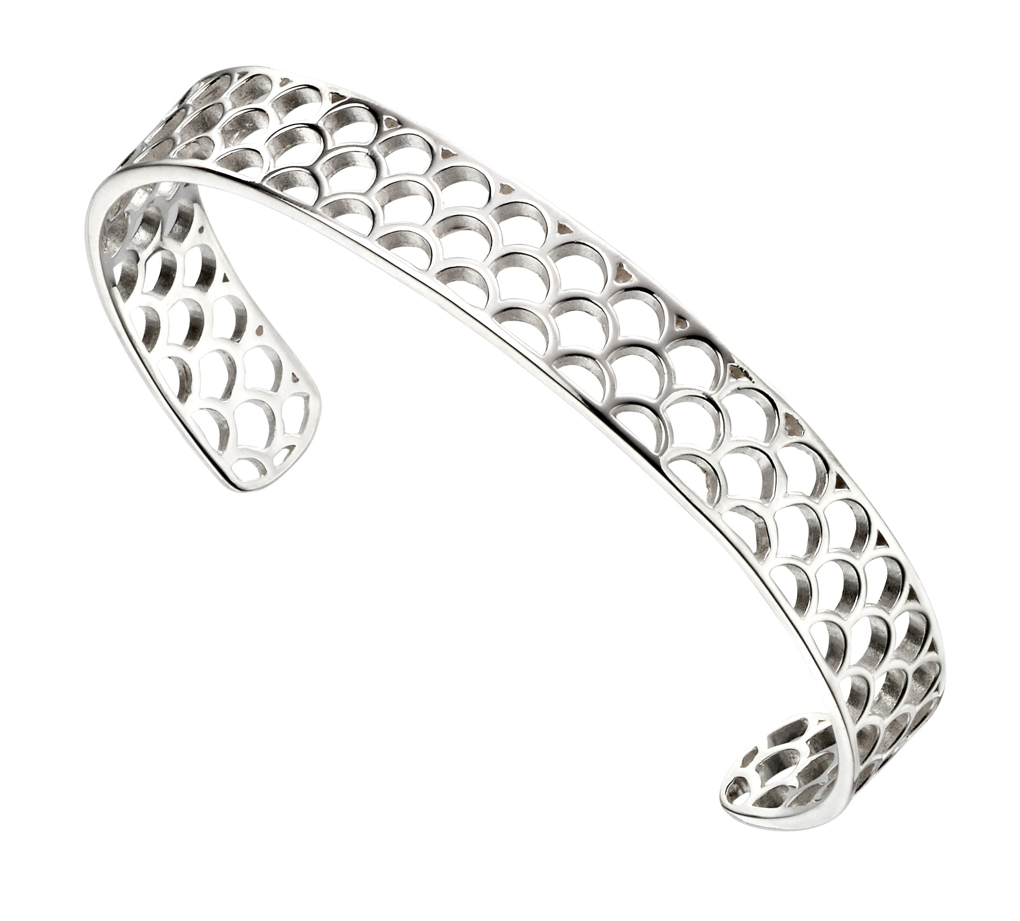 Sterling Silver Semi Circle Pattern Cuff Bangle
