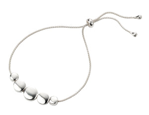 Sterling Silver Disc Embellished Slider Bracelet