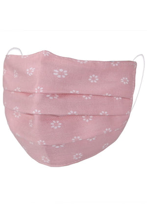 Children's Face Mask - Pink with White Flowers